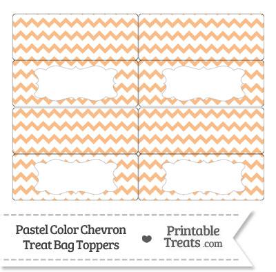 Pastel Orange Chevron Treat Bag Toppers from PrintableTreats.com