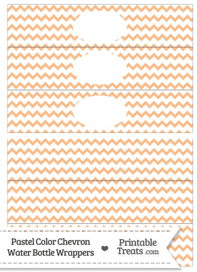 Pastel Orange Chevron Water Bottle Wrappers from PrintableTreats.com