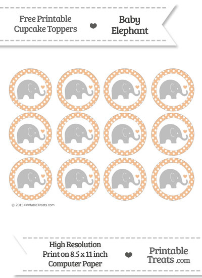 Pastel Orange Polka Dot Baby Elephant Cupcake Toppers from PrintableTreats.com