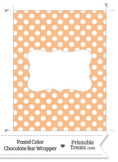 Pastel Orange Polka Dot Chocolate Bar Wrappers from PrintableTreats.com