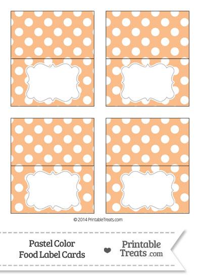 Pastel Orange Polka Dot Food Labels from PrintableTreats.com