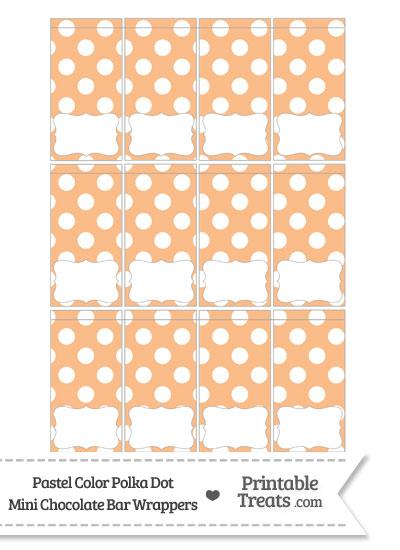 Pastel Orange Polka Dot Mini Chocolate Bar Wrappers from PrintableTreats.com