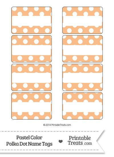Pastel Orange Polka Dot Name Tags from PrintableTreats.com