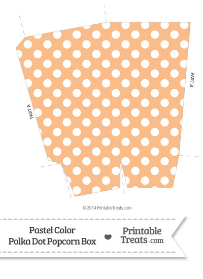 Pastel Orange Polka Dot Popcorn Box from PrintableTreats.com