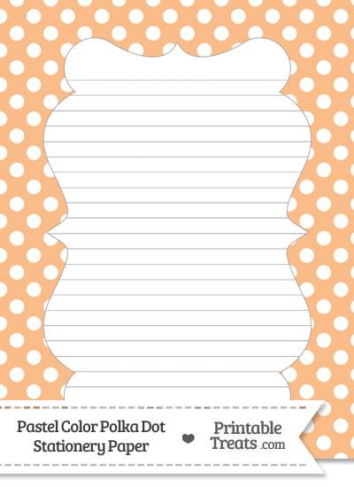 Pastel Orange Polka Dot Stationery Paper from PrintableTreats.com
