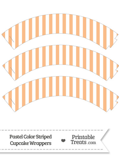 Pastel Orange Striped Cupcake Wrappers from PrintableTreats.com