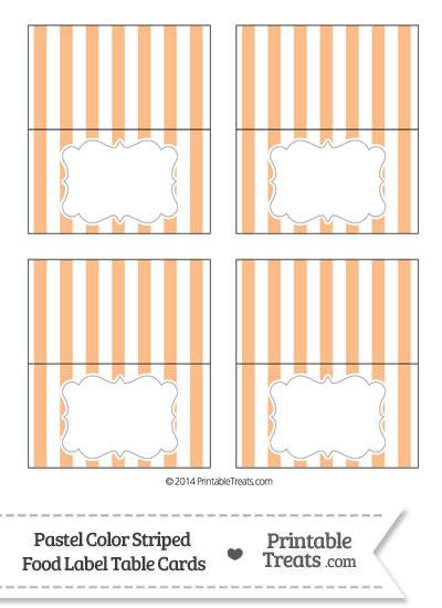 Pastel Orange Striped Food Labels from PrintableTreats.com