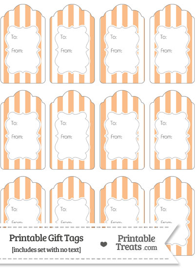 Pastel Orange Striped Gift Tags from PrintableTreats.com