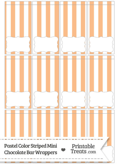 Pastel Orange Striped Mini Chocolate Bar Wrappers from PrintableTreats.com