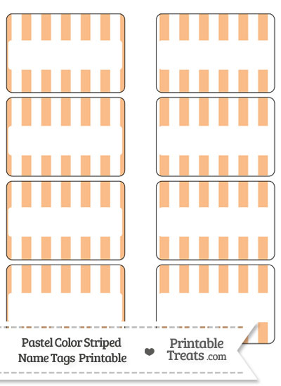 Pastel Orange Striped Name Tags from PrintableTreats.com
