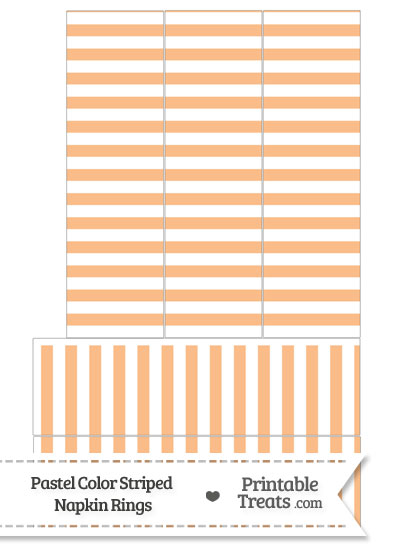 Pastel Orange Striped Napkin Rings from PrintableTreats.com