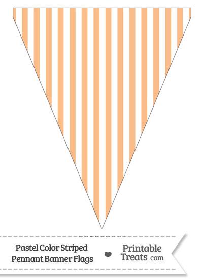 Pastel Orange Striped Pennant Banner Flag from PrintableTreats.com