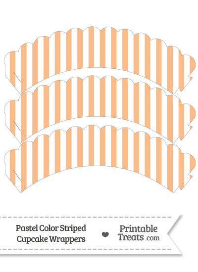 Pastel Orange Striped Scalloped Cupcake Wrappers from PrintableTreats.com