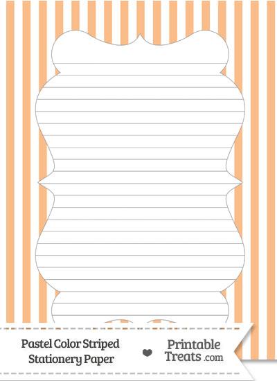 Pastel Orange Striped Stationery Paper from PrintableTreats.com