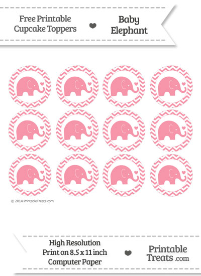 Pastel Pink Baby Elephant Chevron Cupcake Toppers from PrintableTreats.com