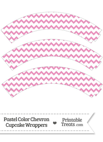 Pastel Pink Chevron Cupcake Wrappers from PrintableTreats.com