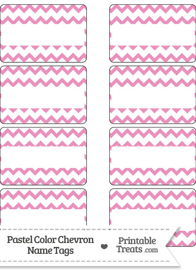 Pastel Pink Chevron Name Tags from PrintableTreats.com