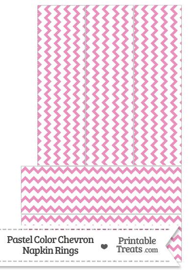 Pastel Pink Chevron Napkin Rings from PrintableTreats.com