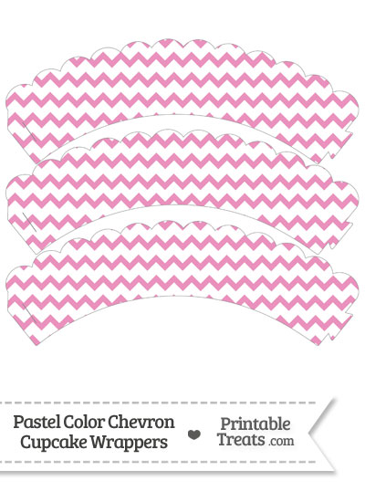 Pastel Pink Chevron Scalloped Cupcake Wrappers from PrintableTreats.com