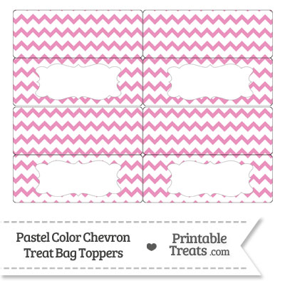 Pastel Pink Chevron Treat Bag Toppers from PrintableTreats.com