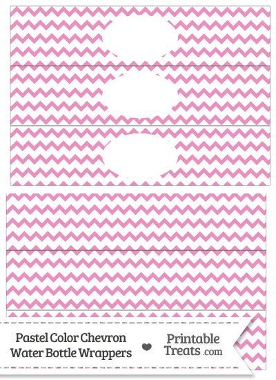 Pastel Pink Chevron Water Bottle Wrappers from PrintableTreats.com