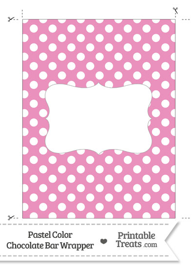 Pastel Pink Polka Dot Chocolate Bar Wrappers from PrintableTreats.com