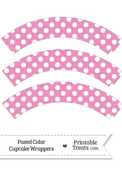Pastel Pink Polka Dot Cupcake Wrappers from PrintableTreats.com