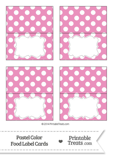 Pastel Pink Polka Dot Food Labels from PrintableTreats.com