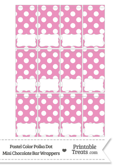 Pastel Pink Polka Dot Mini Chocolate Bar Wrappers from PrintableTreats.com