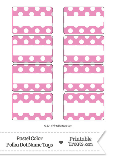 Pastel Pink Polka Dot Name Tags from PrintableTreats.com