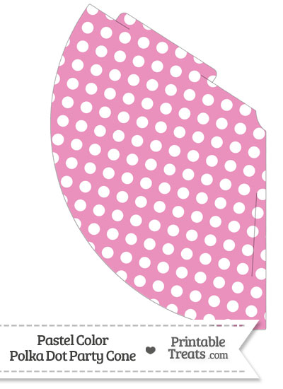 Pastel Pink Polka Dot Party Cone from PrintableTreats.com