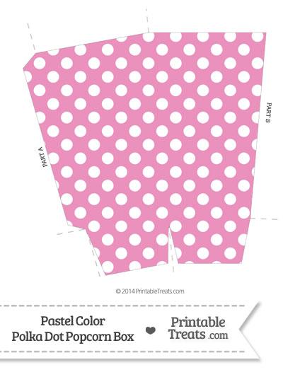 Pastel Pink Polka Dot Popcorn Box from PrintableTreats.com