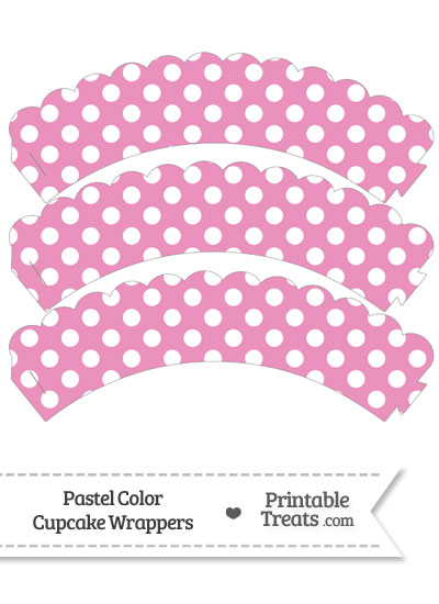 Pastel Pink Polka Dot Scalloped Cupcake Wrappers from PrintableTreats.com