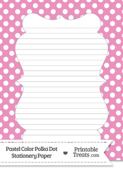 Pastel Pink Polka Dot Stationery Paper from PrintableTreats.com