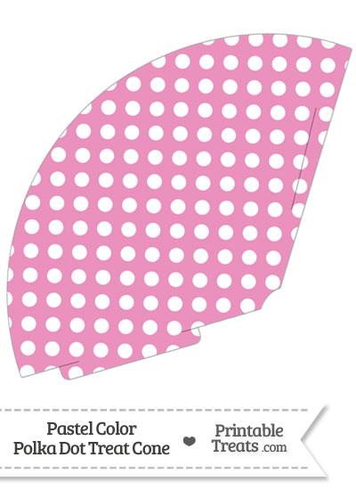 Pastel Pink Polka Dot Treat Cone from PrintableTreats.com