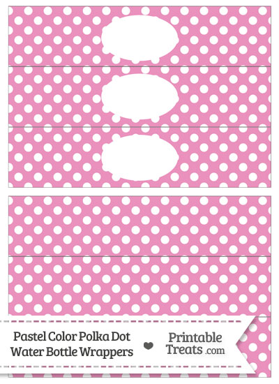 Pastel Pink Polka Dot Water Bottle Wrappers from PrintableTreats.com