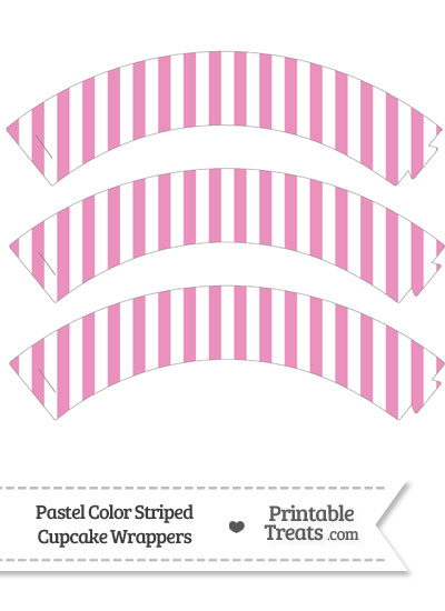 Pastel Pink Striped Cupcake Wrappers from PrintableTreats.com