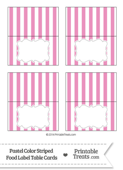 Pastel Pink Striped Food Labels from PrintableTreats.com