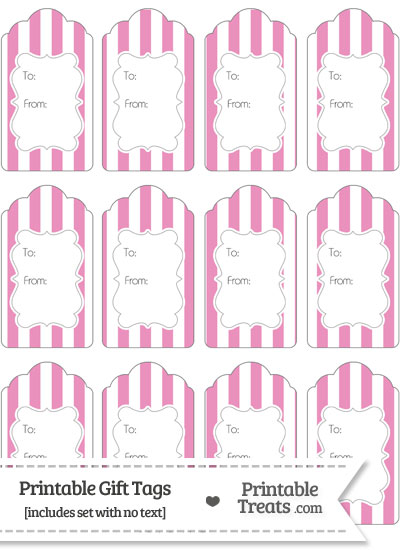 Pastel Pink Striped Gift Tags from PrintableTreats.com