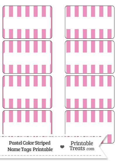 Pastel Pink Striped Name Tags from PrintableTreats.com