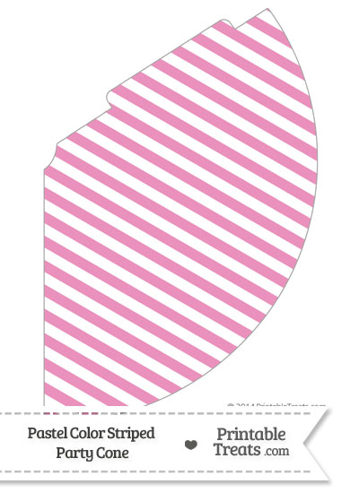 Pastel Pink Striped Party Cone from PrintableTreats.com