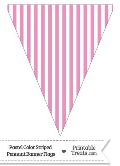 Pastel Pink Striped Pennant Banner Flag from PrintableTreats.com