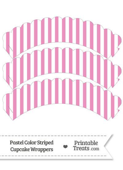 Pastel Pink Striped Scalloped Cupcake Wrappers from PrintableTreats.com