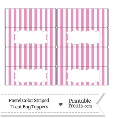 Pastel Pink Striped Treat Bag Toppers from PrintableTreats.com