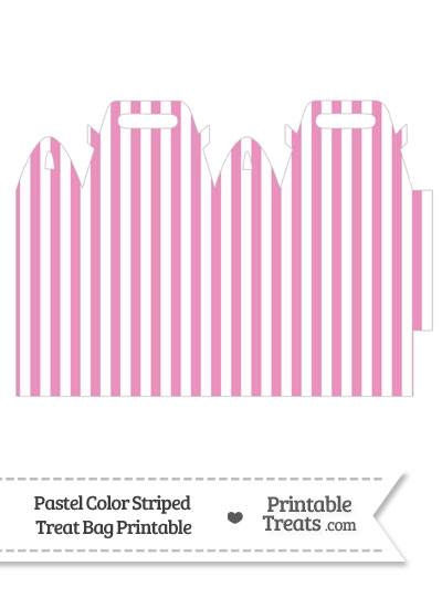 Pastel Pink Striped Treat Bag from PrintableTreats.com