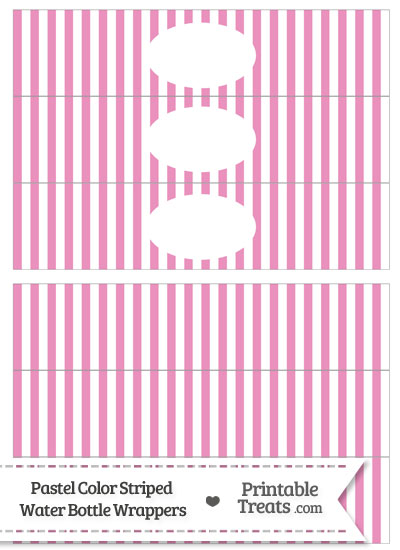 Pastel Pink Striped Water Bottle Wrappers from PrintableTreats.com