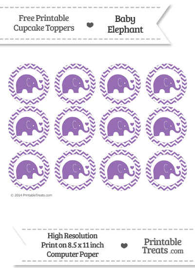 Pastel Plum Baby Elephant Chevron Cupcake Toppers from PrintableTreats.com