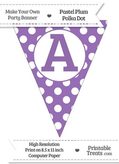 Pastel Plum Polka Dot Pennant Flag Capital Letter A from PrintableTreats.com