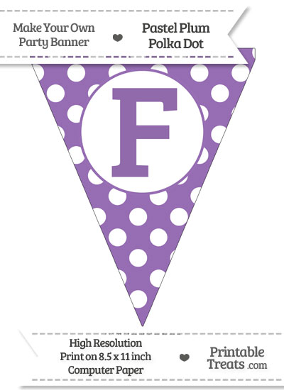 Pastel Plum Polka Dot Pennant Flag Capital Letter F from PrintableTreats.com