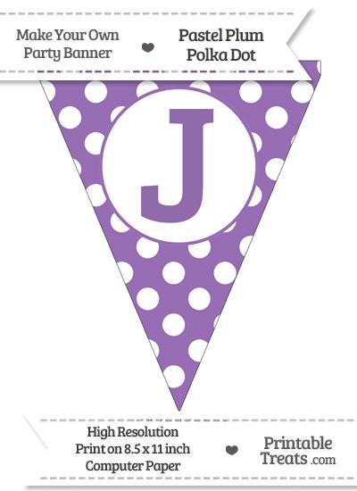 Pastel Plum Polka Dot Pennant Flag Capital Letter J from PrintableTreats.com